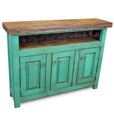 This hand painted skinny green entertainment console will bring a Mexican hacienda look to any room. The hand-forged iron band with nailhead clavos, and rustic hardware add to the charm of our hand crafted Mexican furniture. Mexican Furniture, Home Decor Furniture, Furniture Making, Vintage Furniture, Mexican Home Decor, Mexican Decorations, Rustic Hardware, Tv Stand Console, Inside Doors