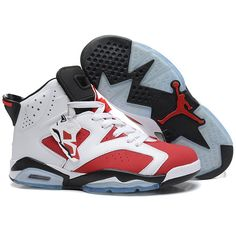 Women's Air Jordan 6 Carmine Shoes (385 BRL) ❤ liked on Polyvore featuring shoes, sneakers, jordans, sports shoes, sport shoes, leather shoes, sports trainer and sports footwear
