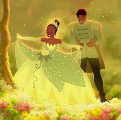 Prince Naveen & Princess Tiana from the 2009 Disney Movie; The First Princess & the Frog Disney Pixar, Disney And Dreamworks, Disney Art, Disney Couples, Disney Love, Disney Magic, Disney Princesa Tiana, Peliculas Walt Disney, Disney Ball Gown