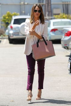 Jessica Alba street style with Max Mara white blazer, skinny pants and Smythson tote.