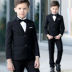 New Latest Full Black Formal Boys Party Suits Two Button Kids Clothing Set (Jacket+Pant+Vest) Wedding Formal Wear Tuxedo Boys Wedding Suits, Wedding With Kids, Boys Formal Wear, Party Suits, Kids Suits, Black Boys, Baby Boy Outfits, Outfit Sets, Ulzzang Kids