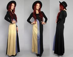 Vtg 70s Black Boho Hippie Colorblock Mod Maxi Dress by theindustry, $87.00