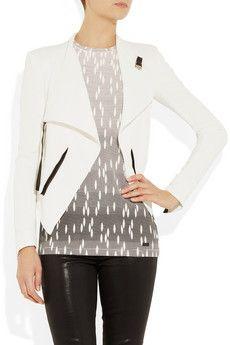 27f2ac76452b Helmut Lang - Sugar leather-trimmed crepe jacket