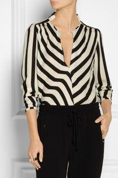 By Malene Birger Lancie striped silk top by Lapon Elegant Woman, Black And White Outfit, Moda Fashion, Womens Fashion, Mein Style, Malene Birger, Beautiful Blouses, Look Chic, Blouse Styles