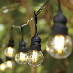 Commercial Led Edison Patio String Lights 15 Ft Black Wire Warm White In Outdoor