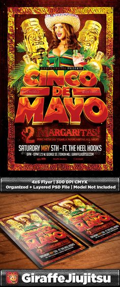 Cinco De Mayo Flyer Template (CS, 4x6, 5th of may, c4d, Cinco de Mayo, club, college, edm, event, flyer, giraffejiujitsu, jungle, latina, latino, May 5th, mexican, mexican independence, music, nachos, party, render, sombrero, template, tequila)