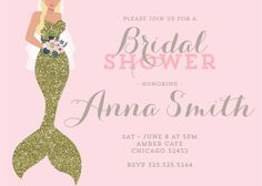 DIGITAL FILE ONLY  Mermaid Bridal Shower Invitation | gold glitter blond blush pink bride wedding shower invite party bouquet floral printable ||B115  Invitation supplied as a print ready digital file, for you to print at home, local print shop, office supply store or photo center. You can print as many as you like. You can print on a regular print paper or on cardstock.  No physical invitations will be mailed to you, this product will be sent to the email address listed on your Etsy…