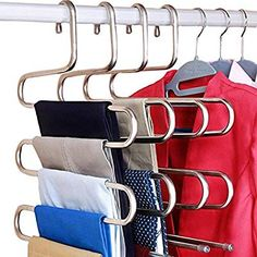 DOIOWN S-Type Stainless Steel Clothes Pants Hangers Closet Storage Organizer for Pants Jeans Scarf Hanging x Set of Kitchen Shelving Ideas Diy. ★ Order Now -- You will get high quality DOIOWN S-type Stainless Steel Hangers. Coat Closet Organization, Closet Storage, Organization Ideas, Storage Ideas, Bedroom Organization, Clothing Organization, Clothing Storage, Diy Storage, Closet Clothing