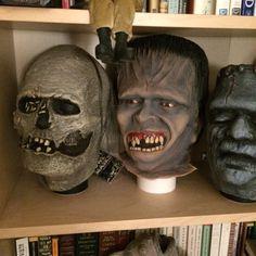 Burial Ground mask by Justin Mabry, foam filled by Dante Renta. Glenn Strange and Toho Frankensteins masks keeping good company.