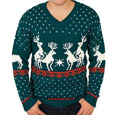 Ugly Christmas Sweater - Humping Reindeer Games Holiday Sweater in Green Large By Festified