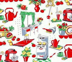 Michael Miller Fabric Fifties Kitchen Retro Cotton Red