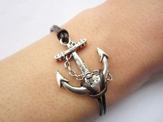Braceletantique silver anchor&brown leather chain by lightenme, $3.50