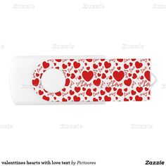 valenttines hearts with love text swivel USB 2.0 flash drive