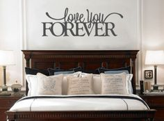 Love you forever Removable Vinyl Wall Art Quotes Decal Sticker that is perfect for above the bed or in the living room #Lyf by WordFactoryDesign on Etsy https://www.etsy.com/listing/179573213/love-you-forever-removable-vinyl-wall