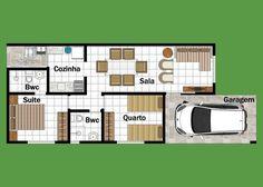As Plantas de casas pequenas e bonitas podem ajudar você no projeto de construir sua casa, explore 22 modelos grátis de plantas de casas pequenas. Minimalist House Design, Minimalist Home, Small Apartments, Small Spaces, Narrow House Plans, Two Bedroom House, Home Projects, Sweet Home, Floor Plans