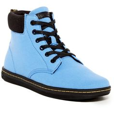 Dr. Martens Maelly Canvas Boot (Unisex) ($45) ❤ liked on Polyvore featuring shoes, boots, ankle boots, denim blue, lace up boots, cuffed ankle boots, flat heel ankle boots, faux-fur boots and dr martens boots