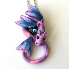 Glitter Dragon Necklace, Fairy Rider, Miniature Polymer Clay Dragon Pendant by Claybykim on Etsy