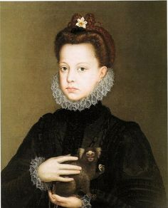 A portrait of the Infanta Isabella Clara Eugenia (1566–1633) and her monkey. By Alonso Sanchez Coello (Spanish painter, c 1531-1588). The Infanta Isabella was the the daughter of Phillip II.