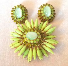 Huge Gorgeous Schreiner Green Ruffle Brooch And by INTEGRITYJEWELS $545