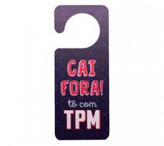 Aviso de Porta TPM - Plástico - 20 cm x 8 cm