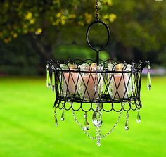 garden chandelier basket of candles