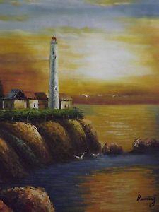 Lienzo Pintura Oleo Paisaje Atardecer Mar Faro Original Tamaño ...