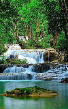 Erawan Waterfall, Thailand - so much more beautiful in person! I miss Thailand so much. Places Around The World, Oh The Places You'll Go, Around The Worlds, Beautiful Waterfalls, Beautiful Landscapes, Natural Waterfalls, Beautiful World, Beautiful Places, Beautiful Boys