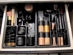 Good old plastic drawer organizer found at your favorite office supply store for about $3.00. I really get creative with these and use them for everything. Perfect for organizing make-up!
