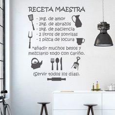 Vinilo cocina , receta maestra del amor #Decoracióndecocinas  #regalos #tendencias #vinilos #vinilosdecorativos  https://papelpintadobarcelona.com/vinilos-decorativos-barcelona/vinilos-decorativos-cocinas-barcelona/