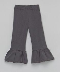 Look at this Charcoal Ruffle Pants - Toddler