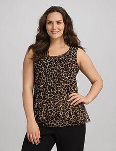 Plus Size Tiered Leopard Tank | Dressbarn