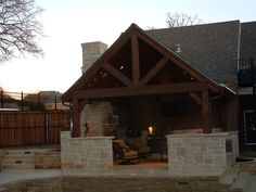 Pictures Outdoor Living Spaces | Composite Roof Living Area With Fireplace - Colleyville, Texas