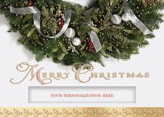 Die Cut Merry Christmas Wreath - Holiday Greeting Cards- The die-cut window of this holiday card allows your name to show through under an elegant wreath and wish for a Merry Christmas. The Office Gal