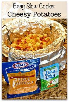 This is the perfect Sunday dinner side dish- and it is so simple to make! Easy Slow Cooker Cheesy Potatoes!