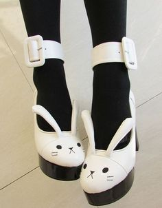 I want to pin all the thinnngggsss Lovely Bunny shoes, with long cute ears, Material: PU Size 35 36 37 38 39 Himi store Kawaii Fashion, Lolita Fashion, Cute Fashion, Kawaii Shoes, Kawaii Clothes, Cute Shoes, Me Too Shoes, Big Shoes, Black Shoes