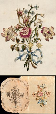 """""""A New Fancy Pattern,"""" printed paper pattern for embroidery, London, 1782 and embroidery, Charleston, about 1782, maker unknown. From the collection of the Charleston Museum."""