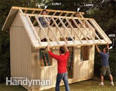How to Build a Cheap Storage Shed - Printable plans and a materials list let you build our dollar-savvy storage shed and get great results. (From Family Handyman dot com) Cheap Storage Sheds, Storage Shed Plans, Storage Ideas, Organization Ideas, Wood Shed Plans, Large Sheds, Build A Playhouse, Playhouse Kits, Simple Playhouse
