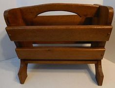 Stained Wood Magazine Newspaper Book Rack Holder With Colonial Paintings