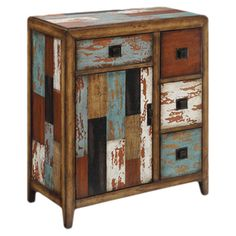 4-drawer cabinet with a distressed multicolor finish.   Product: CabinetConstruction Material: Wood...