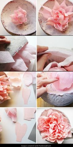 How to make a paper flower garland tutorial with free giant crepe paper peony part 6 of directions on mightylinksfo