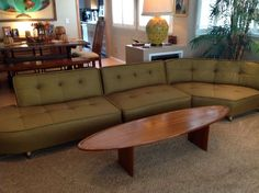 Vintage Mid Century Modern 3 Piece Sectional Couch Bull Nose # MidCenturyModern