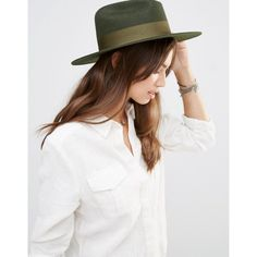 bd3f0962fe114 Brixton Fedora in Moss Green with Grossgrain Band (€76) ❤ liked on Polyvore
