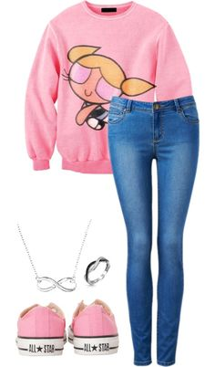 """""""Bubbles the Powerpuff Girl c:"""" by justinsonenonlyshawty ❤ liked on Polyvore"""