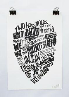 Romeo & Juliet  TWO HOUSEHOLDS screenprint door THiNGYOdESIGNS