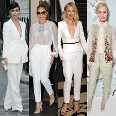 Doce maneras de llevar pantalones blancos después del 'sí quiero'
