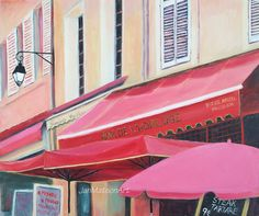 Paris painting street scene Bar De L'Horloge by JanMatsonArt