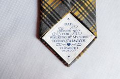 Tie Patch for dad, Father of the Bride Gift, Thank You for Walking by my side, Sew On, Tape On Wedding Favors, Wedding Gifts, Quilt Labels, My Side, Father Of The Bride, Walking By, Bride Gifts, Machine Embroidery, Unique Gifts