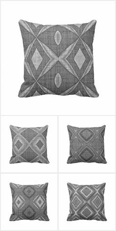 Unique, fashionable and stylish gray interior decor throw pillows. Beautiful geometric and abstract art nouveau deco style diamond squares patterns, seemingly printed on a batik textile looking background. Ornate, elegant, classic and whimsical hip designs to mix and match a decorative and trendy pile of pillows to sink into. Whether your style is modern, vintage, retro, rustic or contemporary... these pillows will give the living, family or master bedroom of your home a chic and classy…