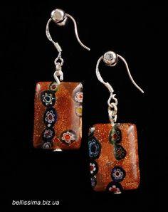 """Серьги """"Золотой песок"""", Миллифиори Handmade jewelry, millefiori earrings, brown"""