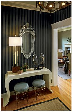 Love dark pinstripes for wall colors! Would also be pretty in a gold, rose, or emerald color